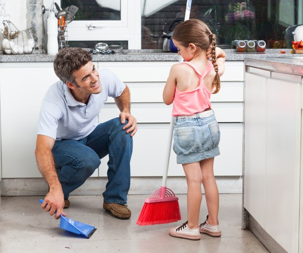 father-cleaning-with-daughter
