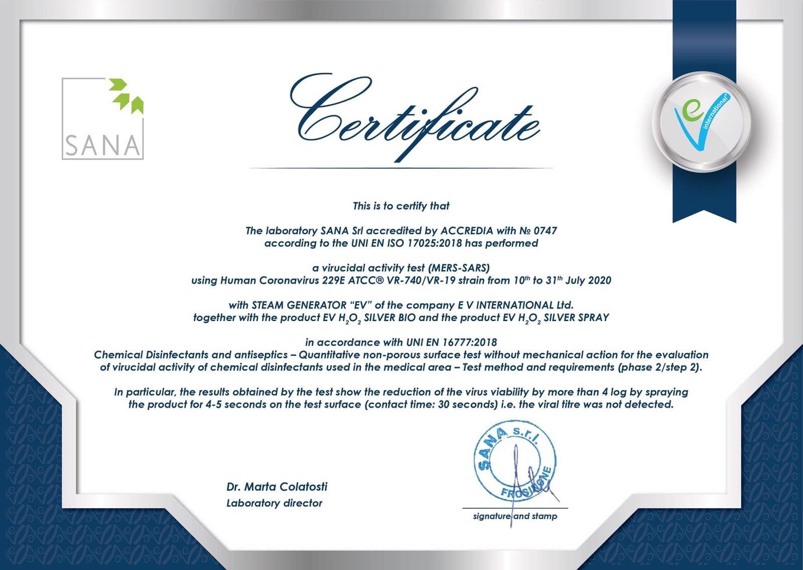 Certificate Antiviral Sanitisation & Disinfection Service
